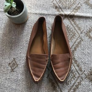 J. Crew Edie brown leather pointed toe loafers 6